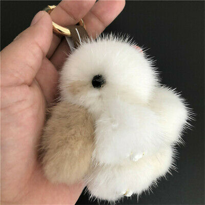 8cm White/Brown Real Mink Fur Rabbit Bunny Toy Keyring Bag Pendant Accessories