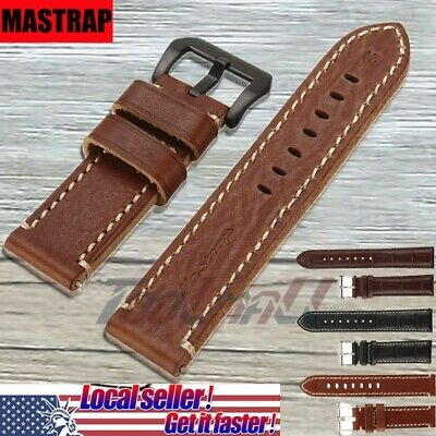2019 Men's Genuine Leather Watch Strap Band Deployment Clasp 20 22 24 MM MASTRAP