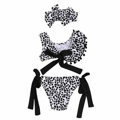 New Baby Girls Bath Suit Kids Leopard Print Bowknot Swimsuit Bikini Beachwear