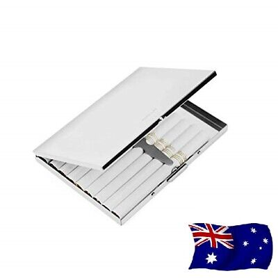 AU Stainless Steel Metal Silver Light Cigarette Case Holds 9 Cigarettes Gift