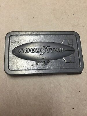 Vintage 1974 Good Year Tire & Rubber Co Good Year Blimp Belt Buckle SMG