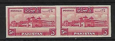 1948 Pakistan Rs 5/- Kpt Imperforate Pair Red Sg 40 (Mnh)