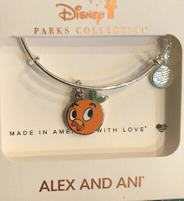 Disney Parks Alex & and Ani Orange Bird Silver Two Sided Bracelet NEW In Hand