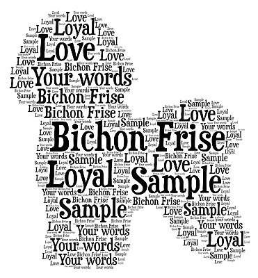 Personalised  Bichon Frise Dog word art picture framed or unframed