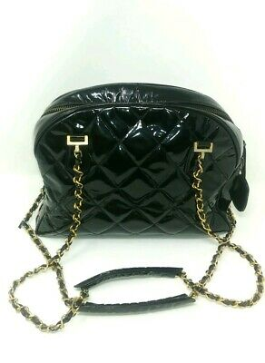 d03f435ccace02 Auth CHANEL Black Patent Leather CC Charm Zip Top Chain Shopper Tote Bag  Vintage