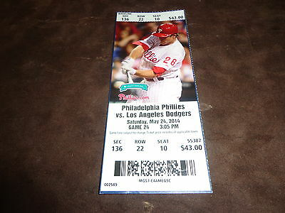 PHILLIES 2014 TICKET STUB VS DODGERS 5/24/14 David Buchanan MLB DEBUT & WIN