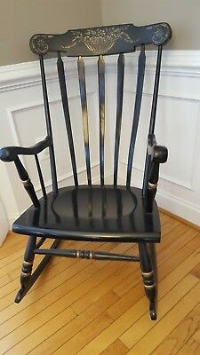 Antique Tell City Black Lacquer Hand Painted Rocker / Rocking Chair