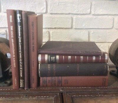 1870-1985 Shabby Lot Of 8 Distressed Decorative Antique Vintage Book Lot Decor