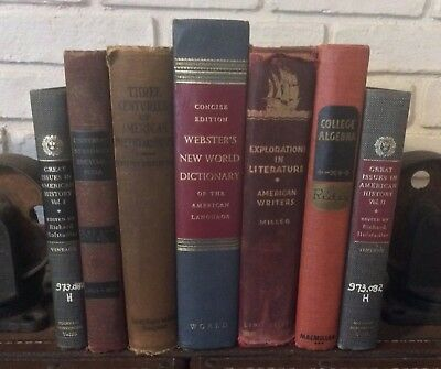 Shabby Lot Of 7 Distressed Textbook Vintage History Algebra Book Lot Decor