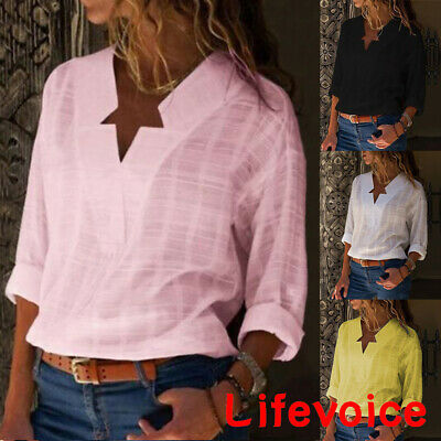 Womens V-neck Long Sleeve Casual OL Shirt Ladies Linen Blouse Tops Size 10-16