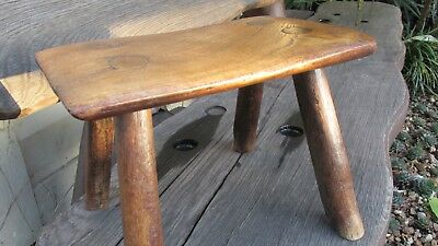 Antique elm stool rustic country made