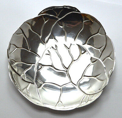 TIFFANY&CO. MAKERS .925 STERLING SILVER LETTUCE / CABBAGE LEAF PLATE Bowl