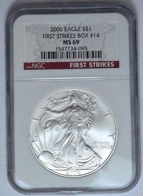 """2006 NGC MS69 American Eagle Silver Dollar  """"First Strikes Box # 1"""" ,Red Label !"""