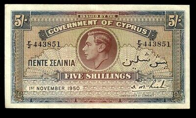 riotis 4727: CYPRUS 5 SHILLINGS 1950,   VERY RARE TO FIND DATE
