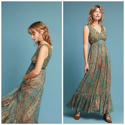 7090671b429 Anthropologie Beaded Paisley Maxi Dress by Ranna Gill NWT Size 10 Retail   228