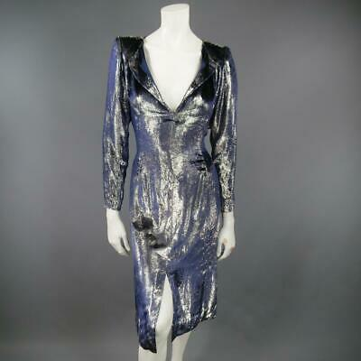 7fab87c65aec JEAN-LOUIS SCHERRER 2 Silver & Navy Metallic Velvet Long Sleeve Sheath Dress