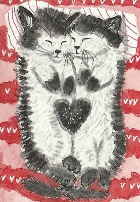 Cuddly Kittens  twins cat watercolor  ACEO original painting gift