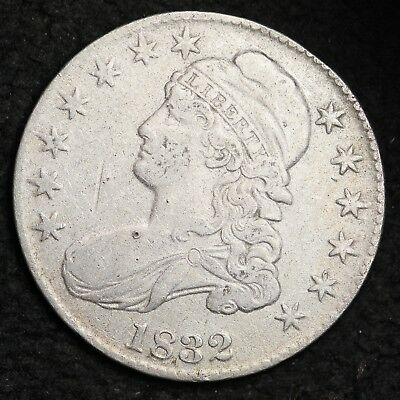 1832 REV DIE CRACK Capped Bust Half Dollar CHOICE XF FREE SHIPPING E312 JHH