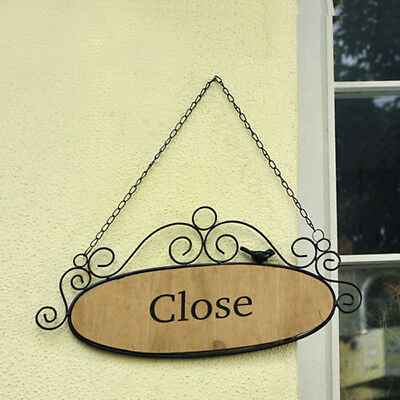Shop Closed Sign Black Metal Wood Cafe Boutique Door Hanging Plaque Wall Decor