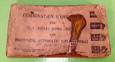 WWII US ARMY Combination Score Book U.S. Rifles M1903 & Browning Automatic Rifle