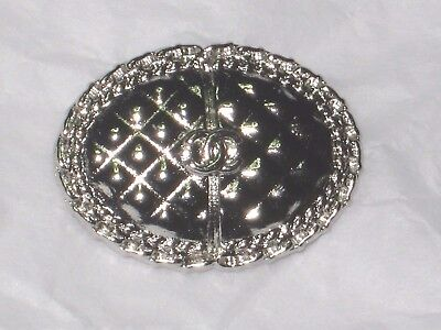 CHANEL silver quilt CC LOGO FRONT AUTH METAL  BUTTON TAG 16 x 11 MM emblem NEW