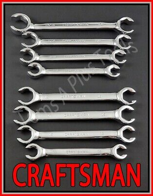 CRAFTSMAN HAND TOOLS 8pc LOT FULL POLISH Flare Nut SAE & METRIC MM Wrench set
