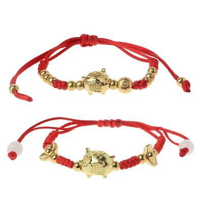 Chinese Feng Lucky Shui Golden Pig Kabbalah Red String Braided Bracelets Jewelry