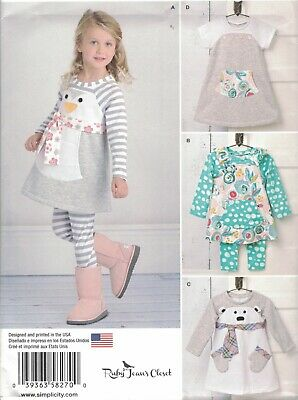 6be7c49e4f8 Simplicity 8270 Sewing Pattern Toddler Girl Knit Dress Tunic Leggings Size  1/2-4