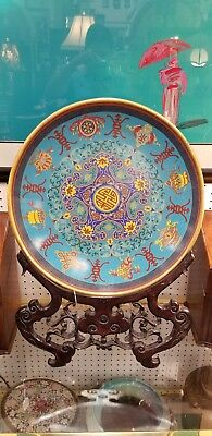 Large Vintage Rare Chinese Bajixiang Cloisonne Charger