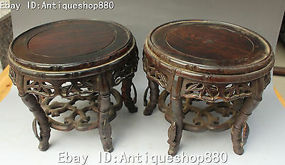 "8"" Chinese Wood Lacquerware Bamboo Leaf Chairs Chair Stool Footstool Pair Statue"