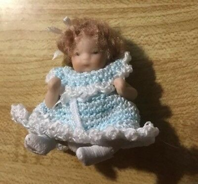"""2 1/2"""" Artist All Bisque Jointed Miniature Doll Dollhouse Bear"""