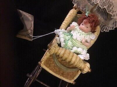 """2 1/2"""" Artist All Bisque Jointed Miniature Dollhouse Doll And Carriage"""