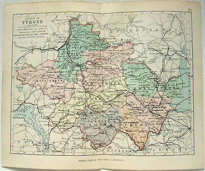Original 1882 Map of The County of Tyrone, Ireland by George Philip. Antique