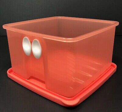Tupperware Fridgesmart Small 4.5 Cup Produce Container Coral Vent New #3993