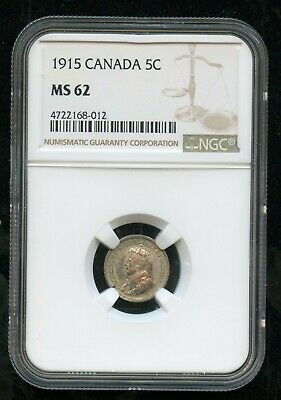 1915 Canada 5 Cents NGC MS62