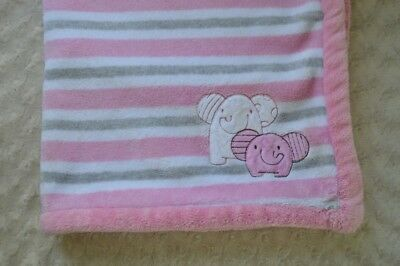 Absorba Elephant Baby Blanket Pink White Gray Stripes Plush Security Lovey