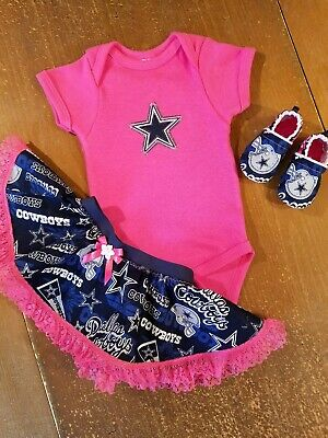 50bba3fe3 Dallas Cowboys Baby Girl 3 Piece Tailgating Outfit Baby Tailgating 0-3  Months