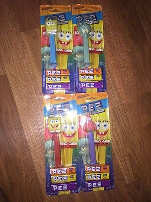 2004 PEZ Candy Toy DISPENSERS LOT 4 Nickeloneon SPONGE BOB SQUIDWARD PATRICK