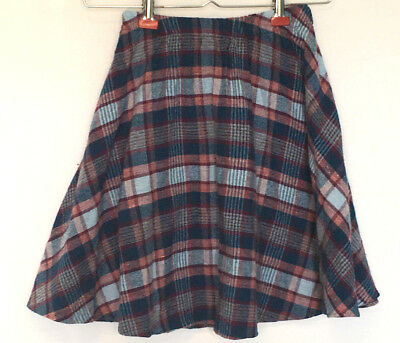 Skirt Girls Size 8 Plaid Blue Pink Purple Acrylic Vintage School Girl Kids Child