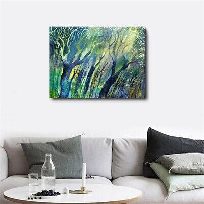 Canvas Spray Green Tree Oil Painting Modern Home Wall Decor Art Poster Picture