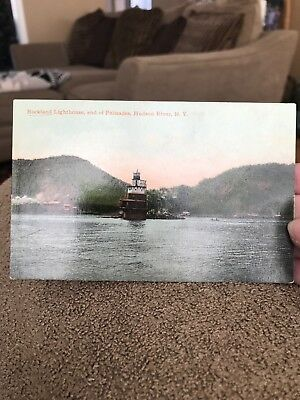 Vintage Rockland Lighthouse End Of Palisades Hudson River NY Postcard (KC)