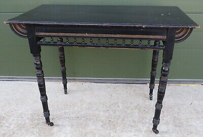 Antique Victorian Aesthetic Movement Ebonised Hall Table, Needs Some TLC