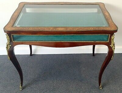 19th CENTURY FRENCH ROSEWOOD & MARQUETRY INLAID BIJOUTERIE TABLE