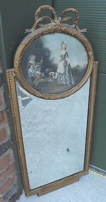 Antique Gilt-Framed Pier Mirror Overmantle Wall Mirror with Print Above