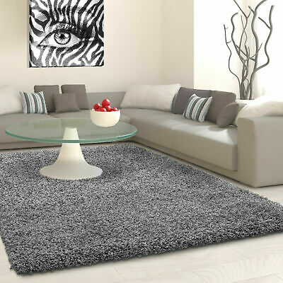 5cm HIGH PILE SMALL EXTRA LARGE PREMIUM QUALITY NON SHED THICK SHAGGY RUG GREY
