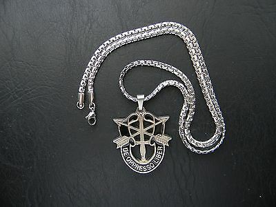 Us Army Special Forces Dui Insignia Crest Pendant Stainless Steel Necklace