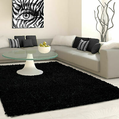 5cm HIGH PILE SMALL EXTRA LARGE PREMIUM QUALITY NON SHED THICK SHAGGY RUG BLACK