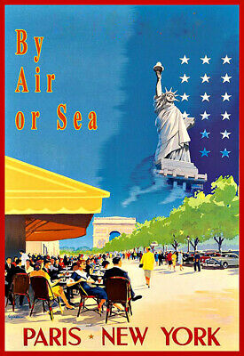 Travel By Air or Sea Paris New York Travel Classic Colourful  Poster Print