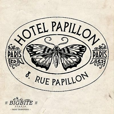 WATER DECAL: French Butterfly Hotel Papillon (Furniture Print Transfer) #007