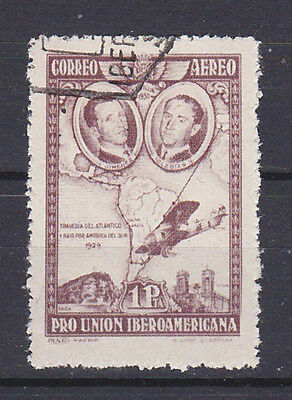 SPAIN 1930 Airmail 1Pta Brown lilac Used C55a (Mi.560b)